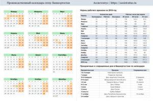 Производственный календарь Башкортостана на 2019год