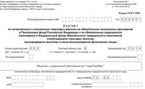 Заполнение формы РСВ-1
