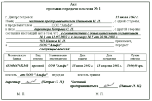 Проводки по акту приема передачи векселей