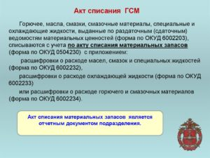 Акт о списании ГСМ образец