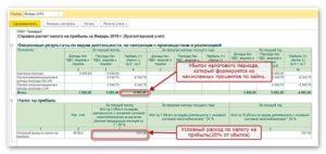 Учет убытков предыдущих налоговых периодов