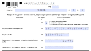Декларация 3-НДФЛ: образец заполнения