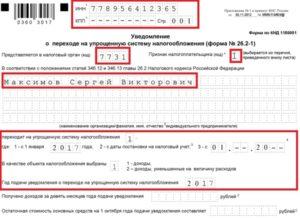 Уведомление УСН при регистрации ИП: бланк и образец
