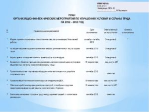 План мероприятий по охране труда на 2019 год