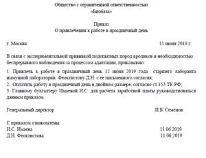 Образец приказа о работе в выходные и праздничные дни в 2019 году