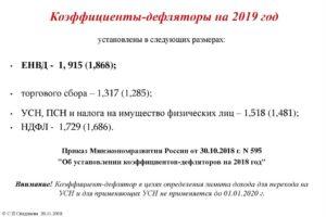 Коэффициенты-дефляторы на 2019 год