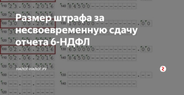 Штраф за несвоевременное представление 6-НДФЛ
